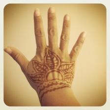 Getting henna'd.